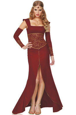Deluxe Medieval Princess 3pc Women Costume, Maroon, Large (12-14)