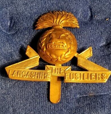 LANCASHIRE FUSILIERS BRITISH ARMY BI-METAL CAP BADGE WWI Militaria World War I