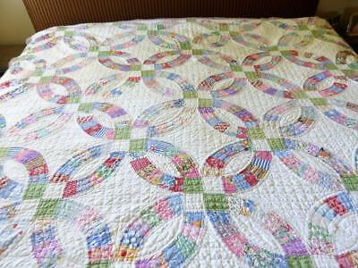 "VINTAGE HANDMADE DOUBLE WEDDING RING FEED SACK  QUILT 88"" by 80"""