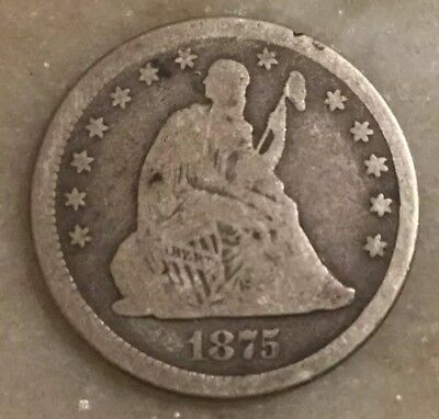 1875 25C Seated Liberty Quarter 90% Silver
