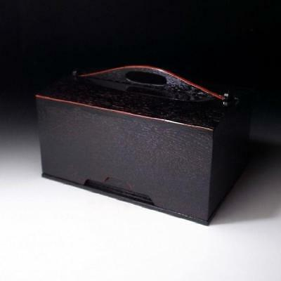 UA5: Vintage Japanese Handy Lacquered Wooden Box for Tea-things items, Chabako