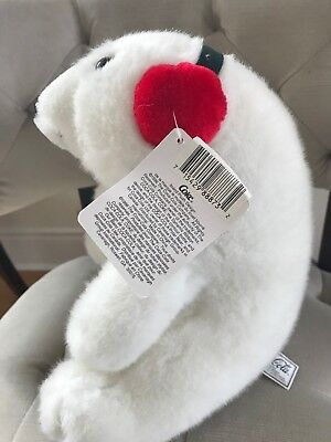 "Adorable 10"" Coca Cola COKE White polar bear in Santa hat for Christmas 1996"