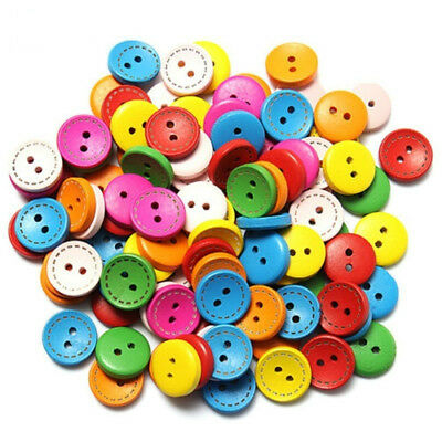 50pcs Mixed 2 Holes Round Wood Buttons Clothing Sewing DIY Craft Scrapbook 15mm