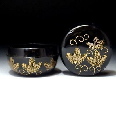 SQ8: Japanese Lacquered Wooden Tea Caddy, NATSUME, MAKIE, Pine tree