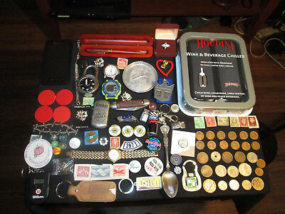 Junk Drawer Lot estate sale old coins watches old marbles winston no bull