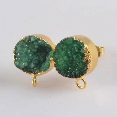 10mm Round Green Agate Druzy Stud Post With Loop Earrings Gold Plated B070901