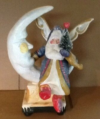 Enormous House of Hatten 2000 Calla Signed Fairy Santa on The Man in the Moon 14
