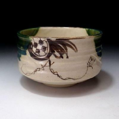 UG9: Vintage Japanese Hand-painted Pottery Tea bowl of Oribe Ware