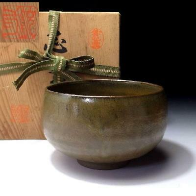 TC9: Japanese Tea bowl, Seto ware, with Signed Wooden Box, Grass green glaze
