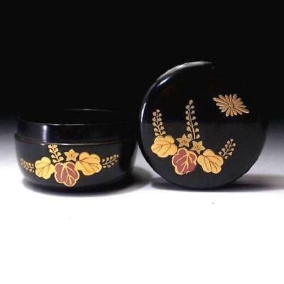 RD3: Vintage Japanese Lacquered Wooden Tea Caddy, NATSUME, MAKIE, Paulownia