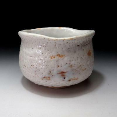 TJ6:  Vintage Japanese Hand-shaped Pottery Tea bowl, Shino ware, White