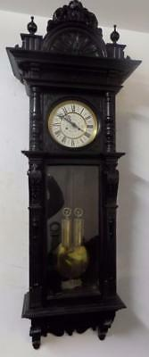 large ebonised double weight vienna  wall clock c1900s