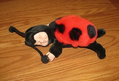 "Baby Ladybugs By Anne Geddes Sleeping Doll 9"" Plush Stuffed Animal"