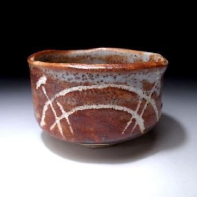 HO2: Vintage Japanese Hand-shaped Tea Bowl, Shino Ware, Brown glaze