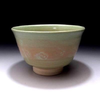 MJ1: Vintage Japanese Pottery Tea bowl of Seto ware, Light green glaze