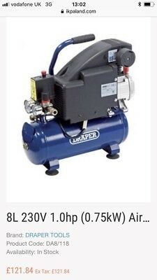 Draper 8l 230v 1.0hp 0.75kw Air Compressor 24975