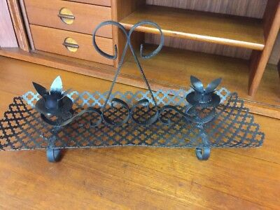 Rare Antique Vintage Spanish Revival Wrought Iron Candelabra Candle Holder Dish