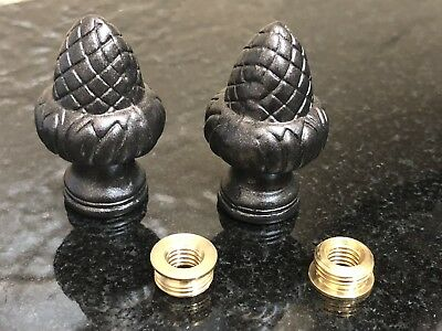 PAIR OF LAMP FINIALS Metal Acorn, Oil Rubbed Bronze Finish Topper With Adapter.