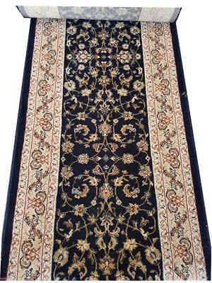 Hallway Runner Carpet Rug Blue Wool 67cm Wide Diamond Floral Per Metre Floor