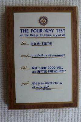 Rotary International The Four Way Test Of Things Plaque New