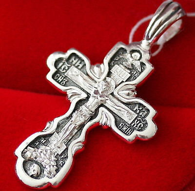 Russian Orthodox Icon Protective Prayer Cross , Silver 925 New. Blessed. Sale !!