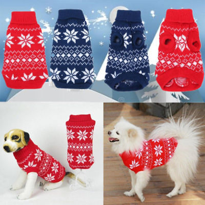XMAS Dog Pet Sweater Clothes Snowflake Puppy Knit Coat Outwear Apparel XS-XXL US