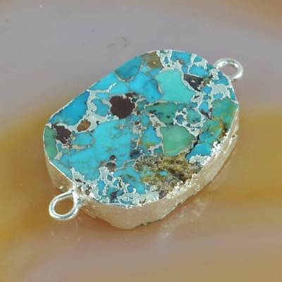 Blue Copper Turquoise Connector Silver Plated T068321