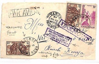 BF225 1946 FRENCH COLONIES Cameroon Yaounde KENYA Nairobi Front UNDELIVERED