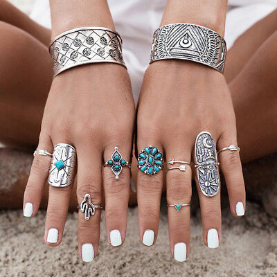 New 9pcs Bohemian Vintage Punk Rings Women Silver Turquoise Finger Rings Set