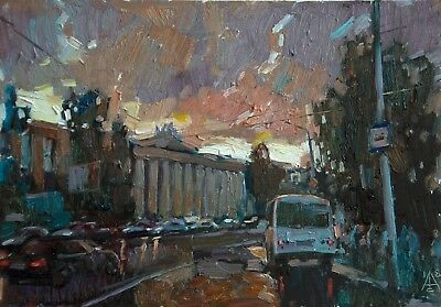 Friday evening cityscape by artistAVDEEV Original oil Painting RUSSIA