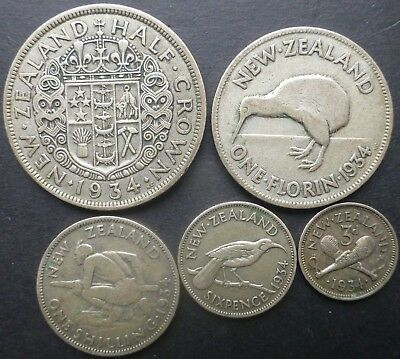1934 New Zealand Silver Coin Set