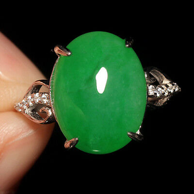 15.5Ct 925 Sterling Silver 100% Natural Grade A Green Jadeite Ring Cab UCDZ31