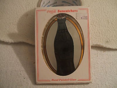 "Coca Cola Sun Catcher Oval Coke Bottle 1997 Size 3 1/2"" W/Chain Box See Note"