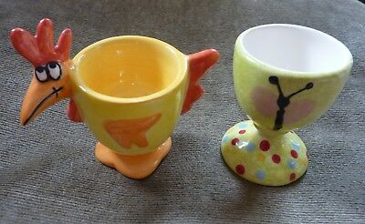 Two Individual Hand Made Pottery Egg Cups - Chicken + Butterfly / Caterpillar