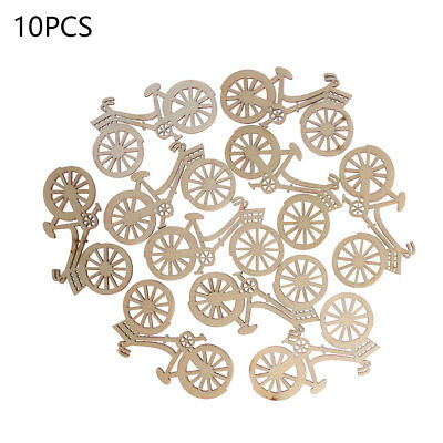 10pcs Wood Bicycle Bike Cutout Veneers Slices DIY Ornament Xmas Tree Decor Hot