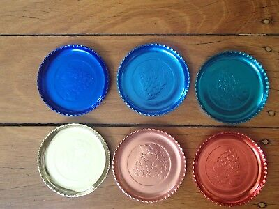 Vintage Multi Coloured Retro Collectible Set Of 6  Drink Coasters