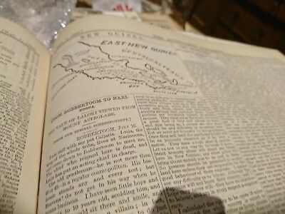 Antique newspaper pages 1883 Argus Expedition New Guinea maps