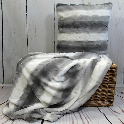 Faux Fur Throw Blankets & Cushion Covers Velvet Fleece Super Soft & Cosy