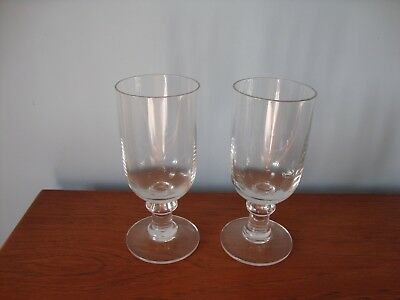 Unusual Vintage Pair of  clear glass,stemmed wine glasses. 14 cm high. VGC