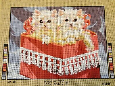 Colour Printed Tapestry to Work – Kittens in Box