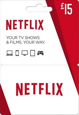 x2 NETFLIX £15 gift cards (£30 total)