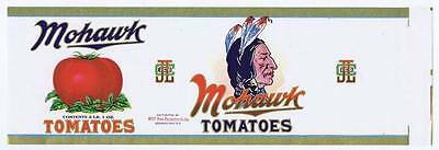 Mohawk tomatoes, indian feathers, vintage can label, WGY Food Product Co Inc NY