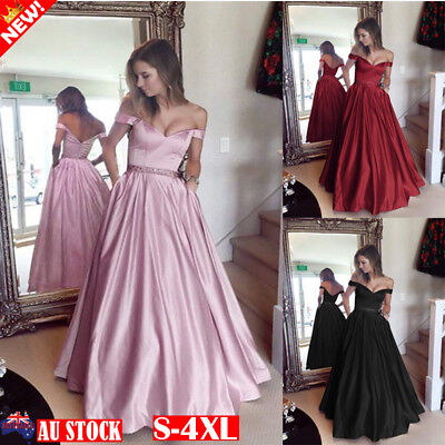 Women Off Shoulder Maxi Dress Evening Formal Party Prom Gown Bridesmaid Dress AU