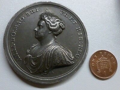 1713 Queen Anne Peace Of Utrecht Large Silver Medallion 58mm By J. Croker RARE