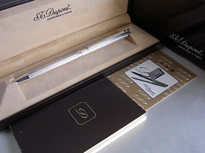 S.T. Dupont Classique Ball Point Pen Silver Plated Barley