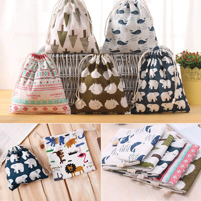 Cotton Draw String Storage Bag Print Candy Gift Bag Outdoor Travel Pouch S/M/L