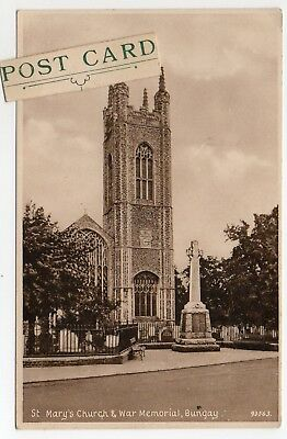 St Mary's Church & War Memorial Bungay Posted 1949 Card By H W Short Bungay