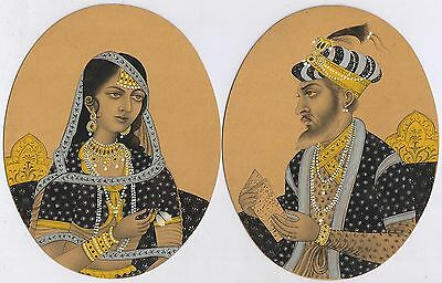 Mughal King & Queen Miniature Original Water Color Paper Painting Hand Painted