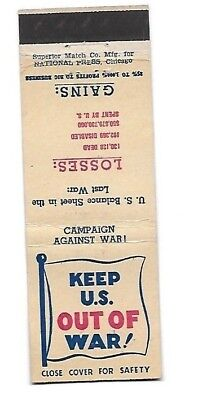 WWII Matchbook Cover KEEP THE US OUT OF WAR Anti-War Peace Movement #583