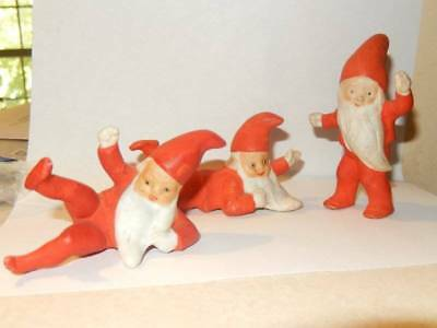 Vintage German Lot 3 Christmas Gnome Santa Snowbaby Elf Figures